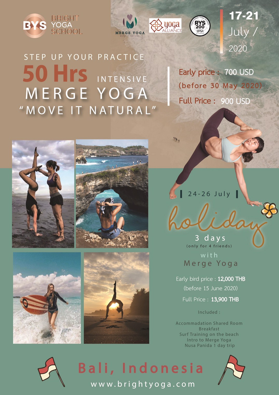 50Hrs Merge Yoga Holiday in Bali July